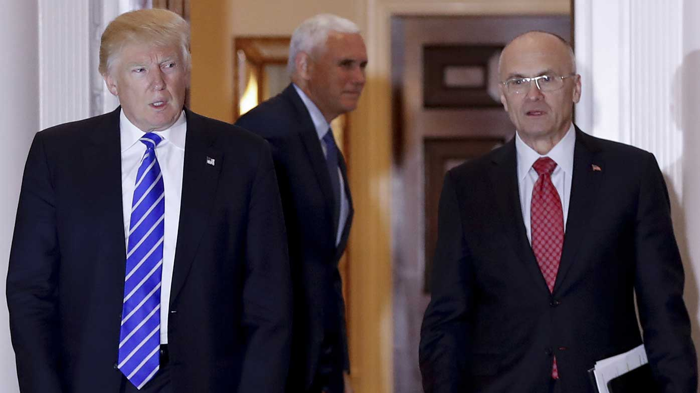Donald Trump and Andrew Puzder. (AAP)