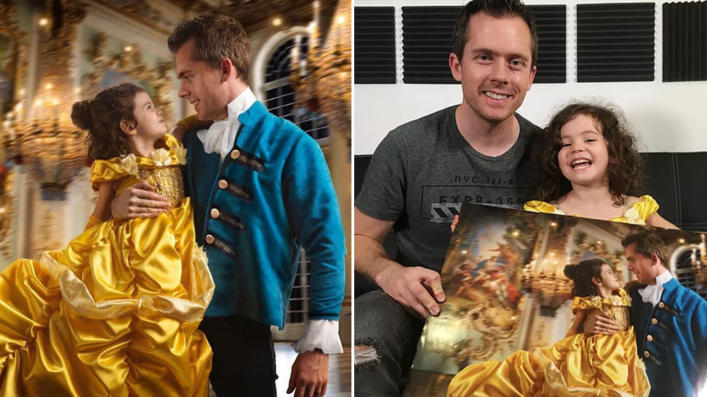 Loving dad treats daughter to 'Beauty and the Beast' photo shoot