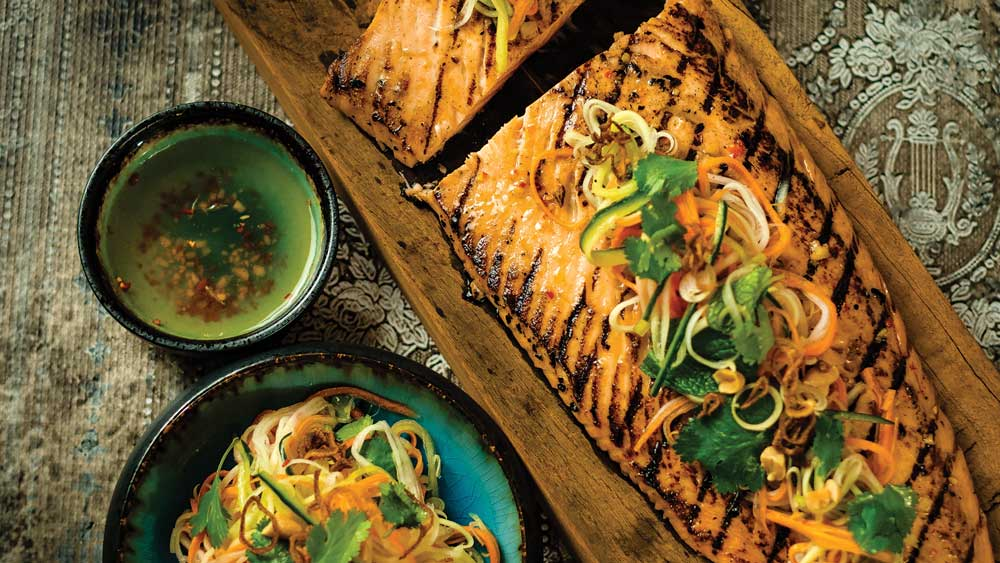 Chargrilled salmon with hot and sour dressing and pickled vegetable salad