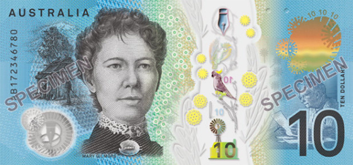 "Famous Australian writers Dame Mary Gilmore and AB ""Banjo"" Paterson remain on each side of the note. (RBA)"