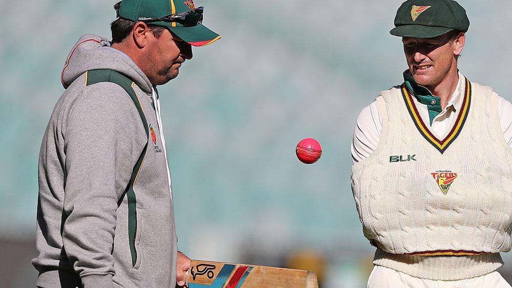Sacked Tasmania coach Dan Marsh with George Bailey. (Getty)
