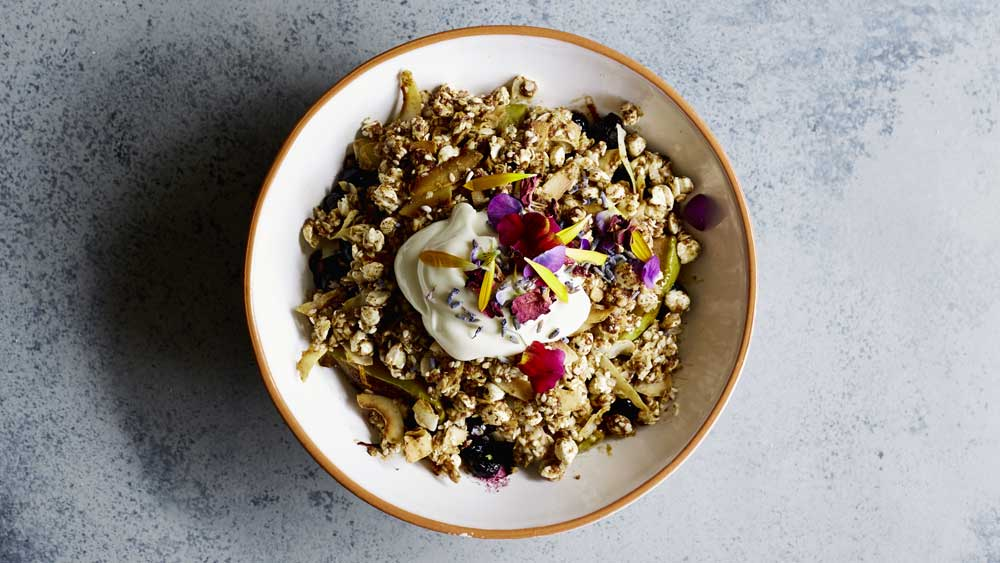 Caramelised apple and blueberry crumble bowl