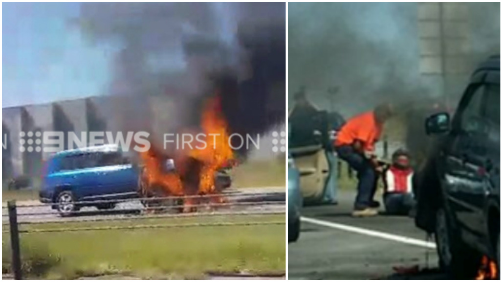 Bystanders pull motorcyclist to safety from fiery Monash Freeway crash