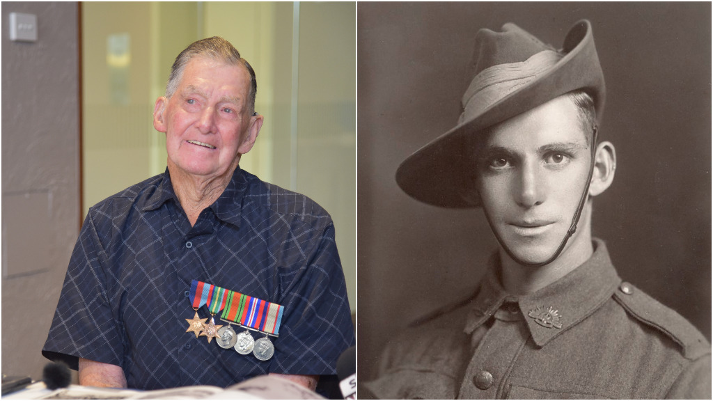 Then and now: 96-year-old veteran Mervyn Ey. (AAP)