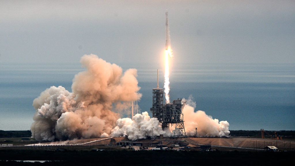 The SpaceX Falcon rocket launches from the Kennedy Space Center in Florida. (AAP)