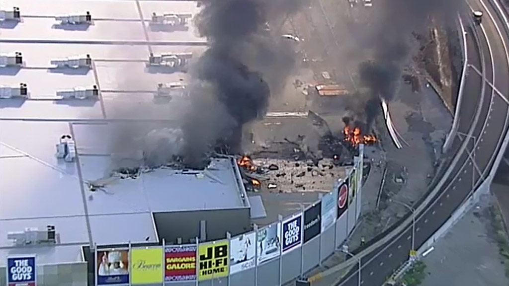 Thick black smoke from the crash could be seen across Melbourne.