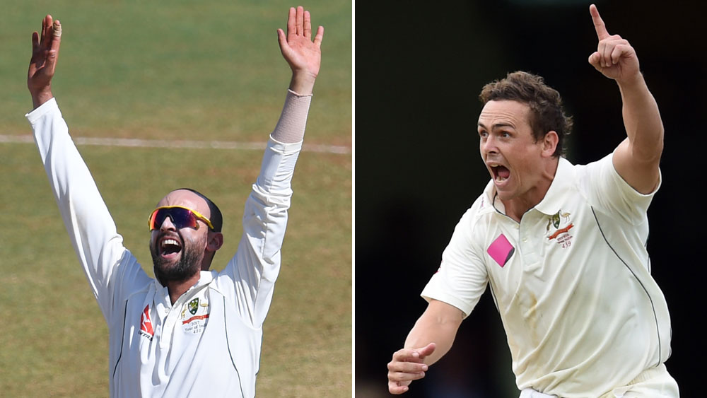 Nathan Lyon (l) and Steve O'Keefe face a challenge in the Test series against India. (AFP/AAP)