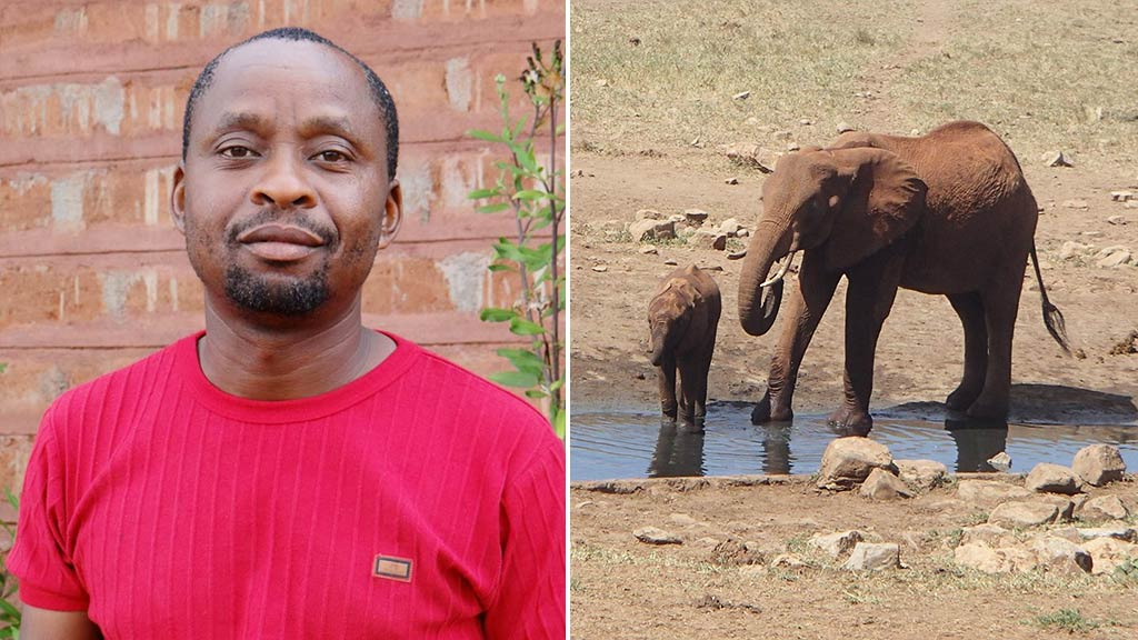 African farmer delivers water to wild animals during drought