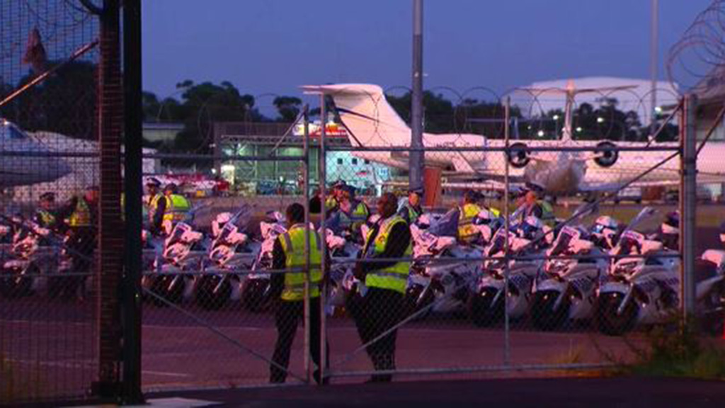 Dozens of police motorbikes waiting for Mr Netanyahu's arrival. (9NEWS)