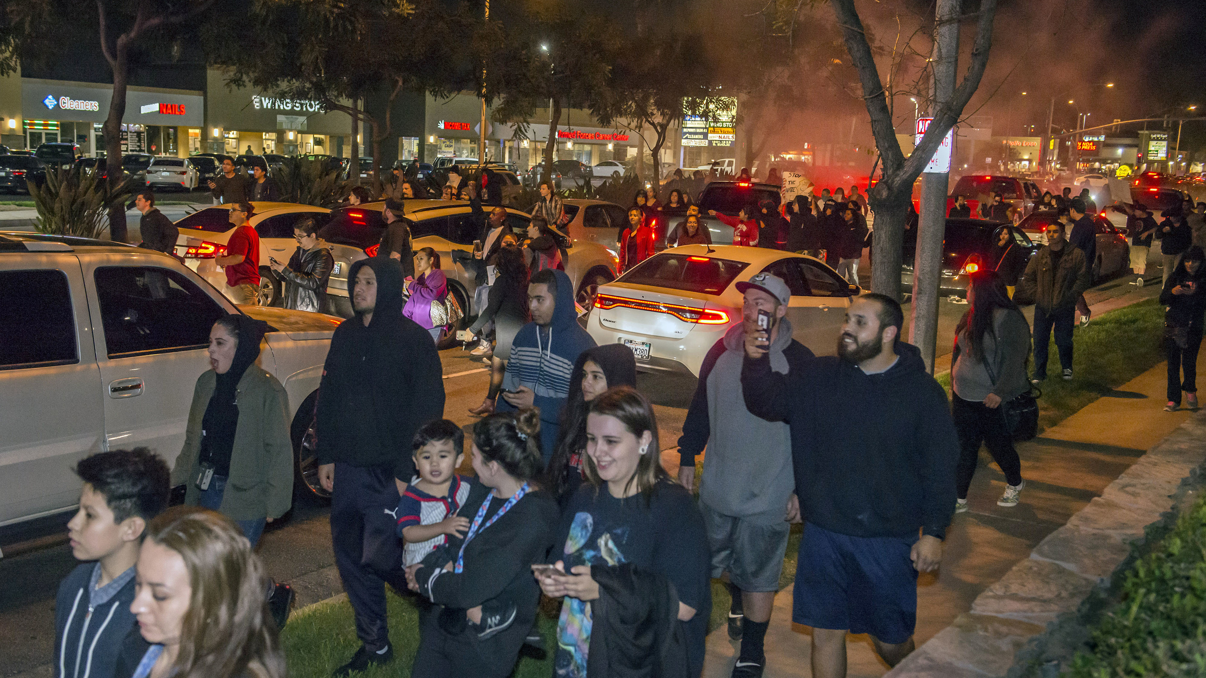 Hundreds marched through the streets of Anaheim. (AAP)