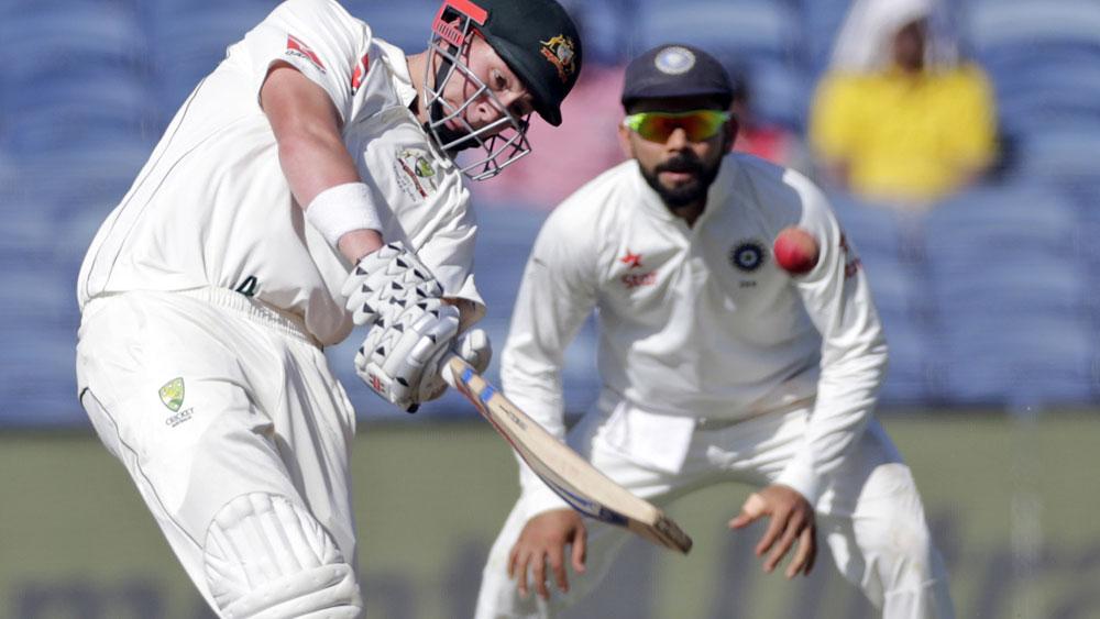 Matt Renshaw batting during Australia's second innings. (AAP)