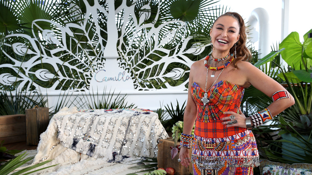 Australian designer Camilla Franks is well-known for her colourful kaftans. (Getty)