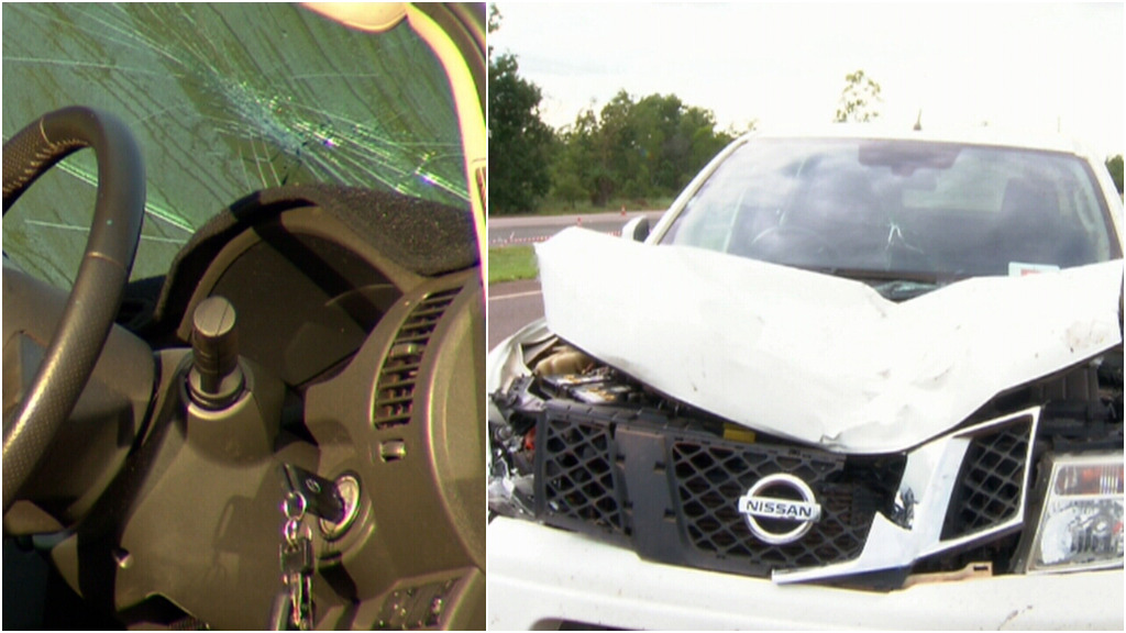 Images show significant damage to the white vehicle. (9NEWS)