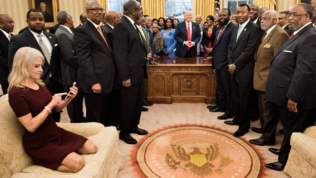 Kellyanne Conway 'meant no disrespect' by kneeling on Oval Office sofa