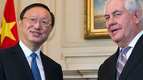 Secretary of State Rex Tillerson shakes hands with Chinese State Councilor Yang Jiechi at the State Department in Washington. (AAP)