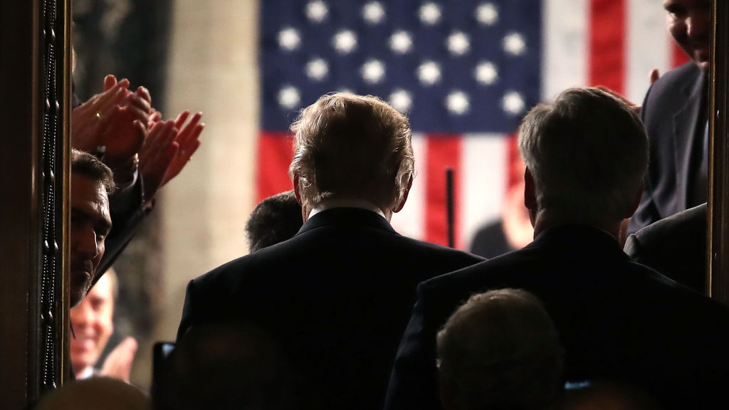 A photograph taken moments before Mr Trump took to the stage. (Getty Images)