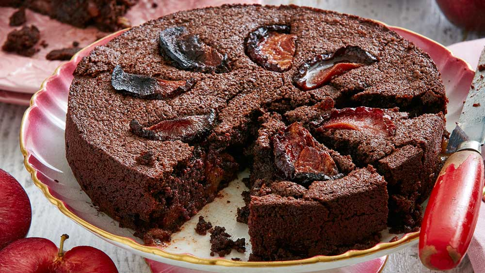 Chocolate and plum brownie by Montague Plums