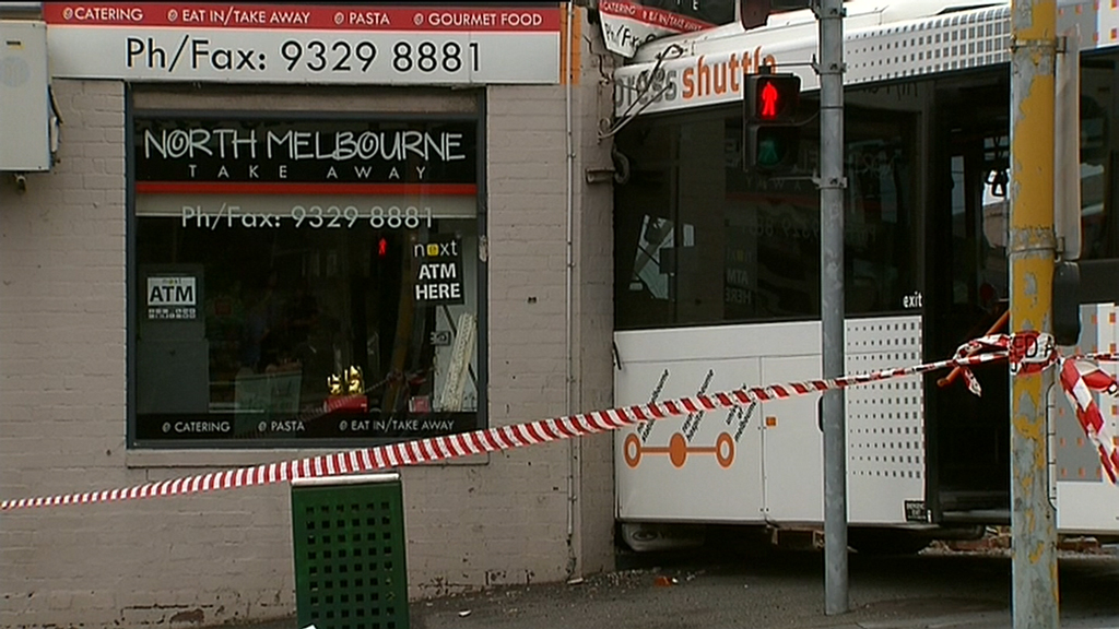 The truck and bus collided around 9.50am. (9NEWS)