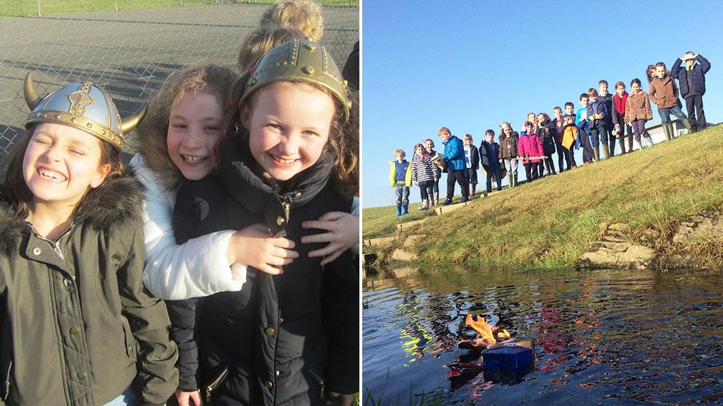 School children farewell class goldfish with fiery Viking boat burial