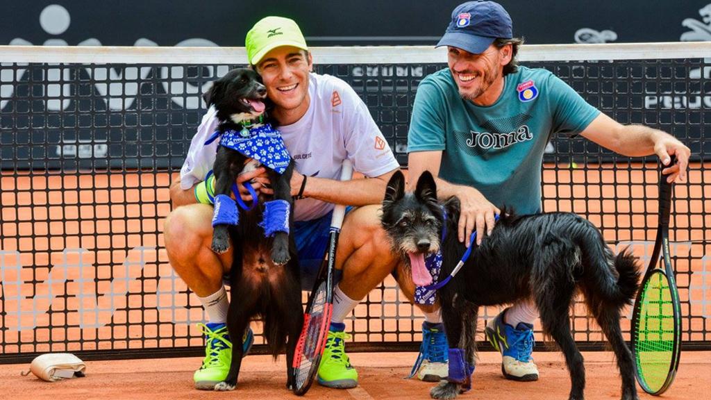 Tennis players Marcelo Demoliner and Joao Zwetsch kept the dogs busy. (Facebook / Brazil Open de Tenis)
