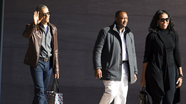 Obama pictured leaving the National Gallery of Art in Washington on Sunday. (AAP)