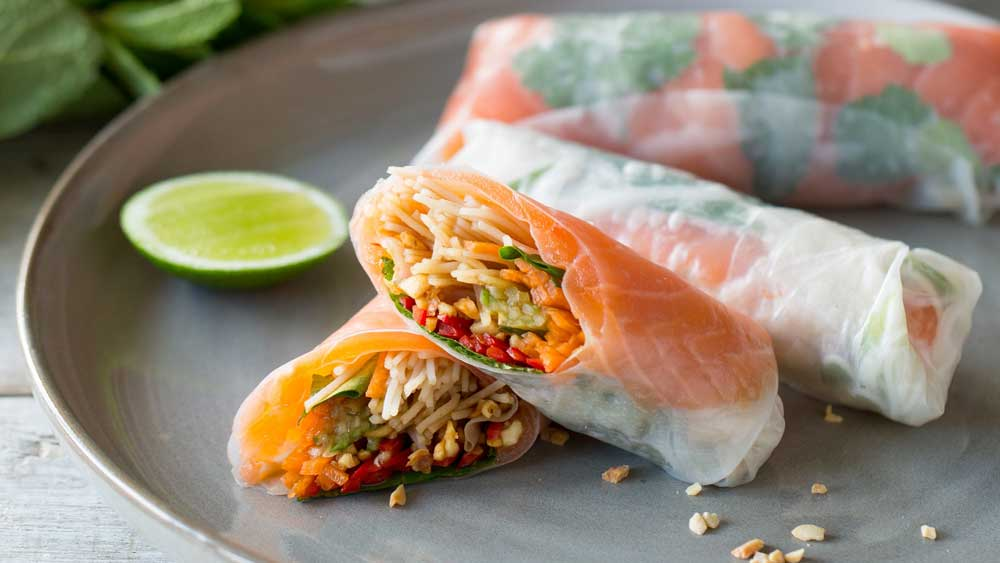 Vietnamese cold smoked salmon rice paper rolls by Huon