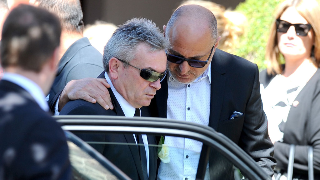 Borce Ristevski, husband of Karen Ristevski, attends the funeral of Karen Ristevski at St Johns Uniting Church in Essendon. (AAP)