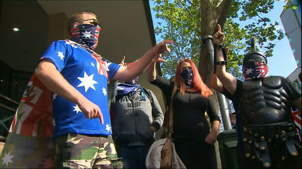 Protests erupt outside Melbourne court as leader of United Patriots Front faces charges