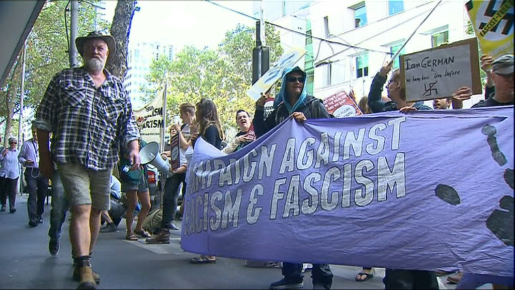 The Campaign against Racism and Fascism opposed the UPF. (9NEWS)
