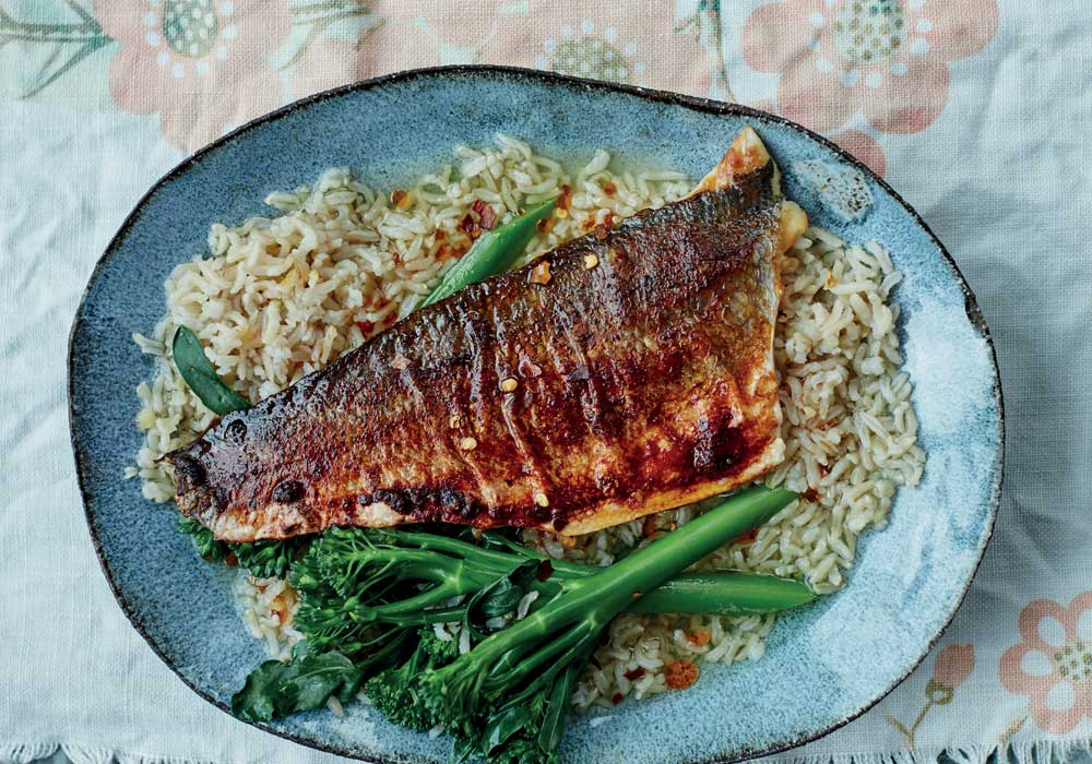 Anxiety-busting miso sea bass with green tea rice (ochakuze) by Rachel Kelly