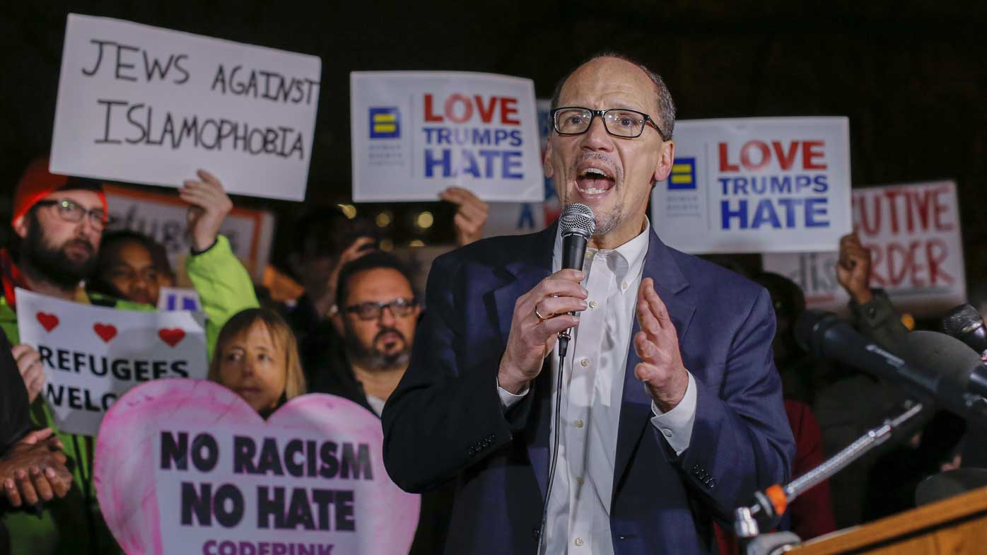 DNC chairman Tom Perez speaks at a rally outside the White House. (AAP)