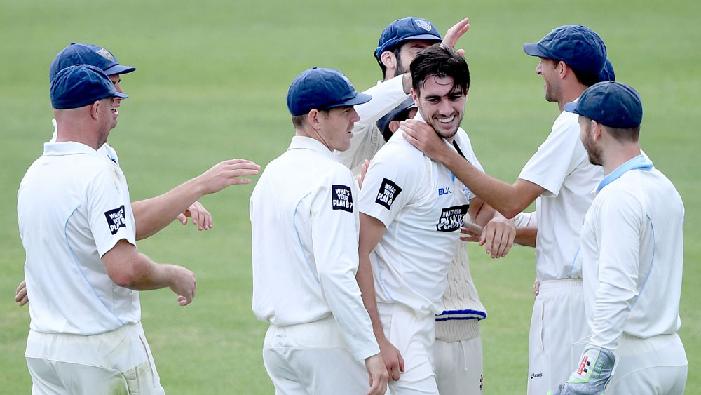 NSW fast bowler Pat Cummins celebrates a wicket against South Australia in the Sheffield Shield.