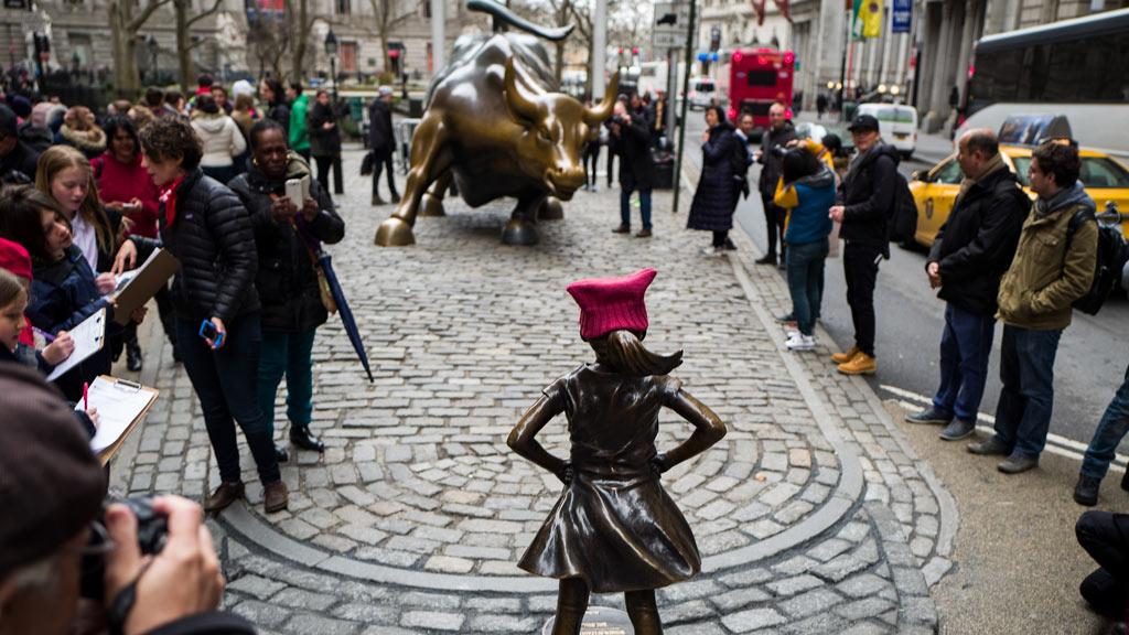 Statue of defiant girl erected opposite Wall Street Charging Bull to mark International Women's Day