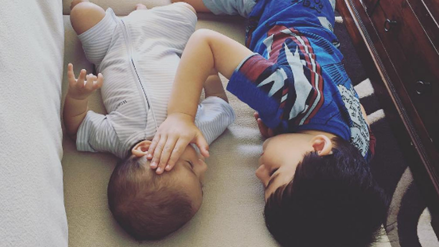 Boy comforts baby brother as he battles terminal cancer