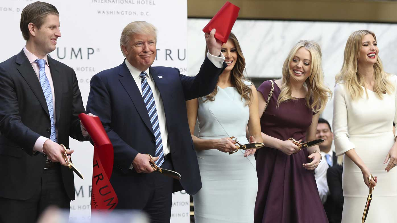 Donald Trump with just some of the people he follows on Twitter, Eric Jr, Melania, Tiffany and Ivanka. (AAP)