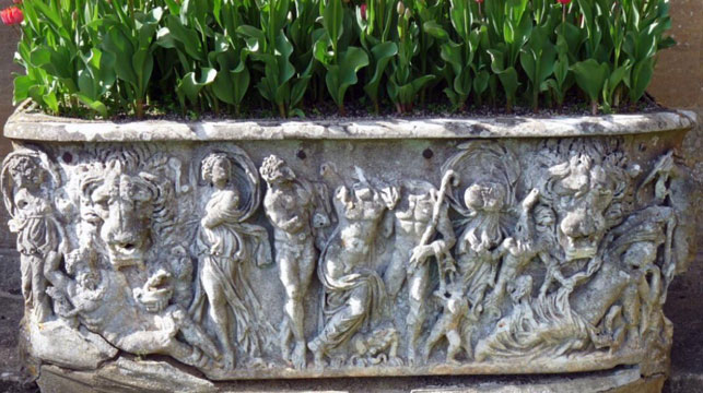 Marble flower pot revealed to be ancient Roman sarcophagus