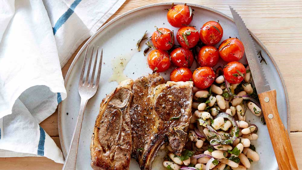 Lamb forequarter chops with roasted tomatoes and white bean salad recipe for We Love Our Lamb