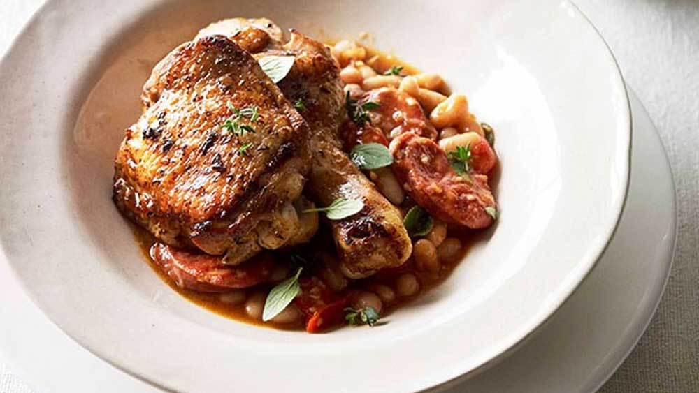 Paprika roast chicken with chorizo and white beans recipe