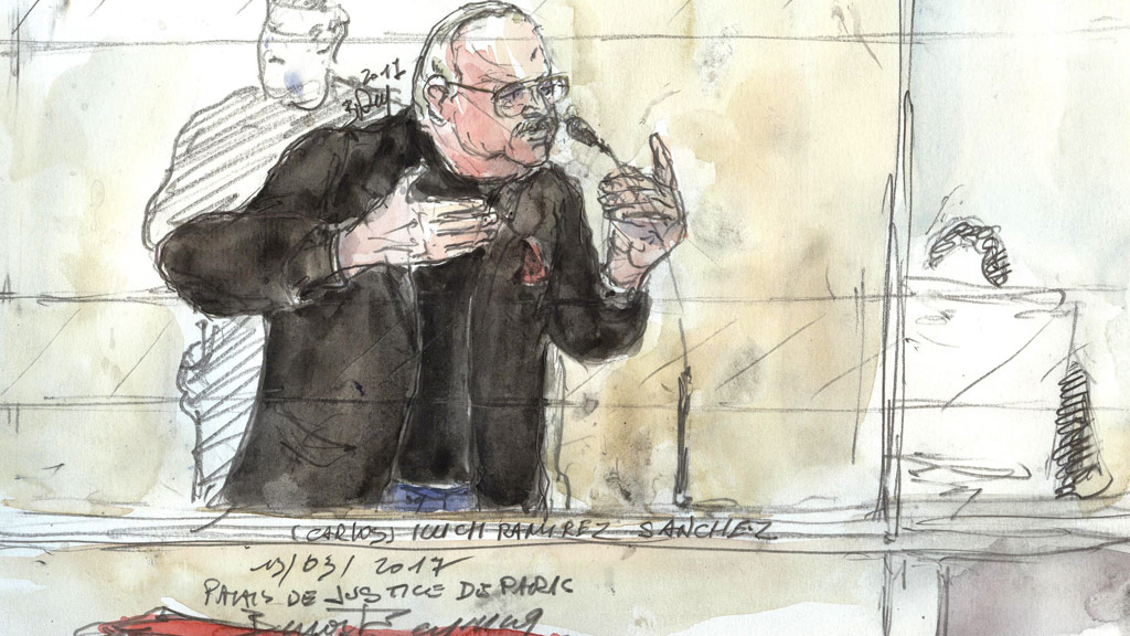A court sketch shows Carlos the Jackal during his trial in France for the deadly bombing of the Drugstore Publicis in Paris more than 40 years ago. (AFP)