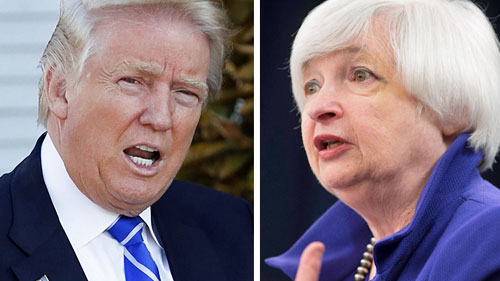 US President Donald Trump and US Fed boss Janet Yellen.