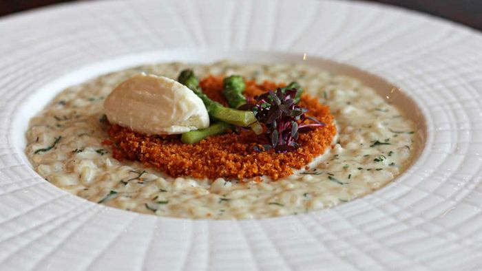 Massimo Speroni's asparagus and goat's cheese risotto with breadcrumbs recipe for Bacchus, Brisbane