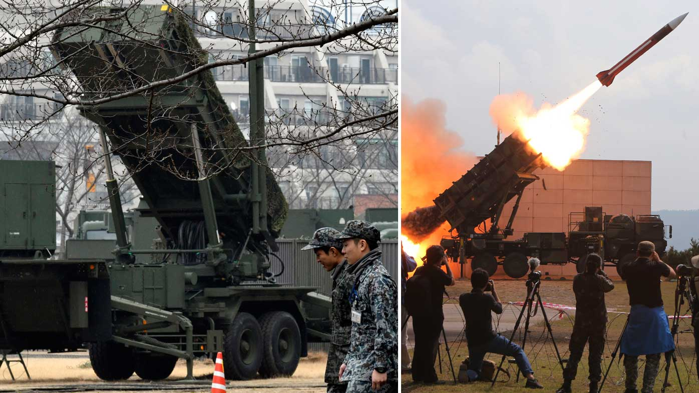 Patriot missiles in Japan (left) and being tested in South Korea (right). (AAP)