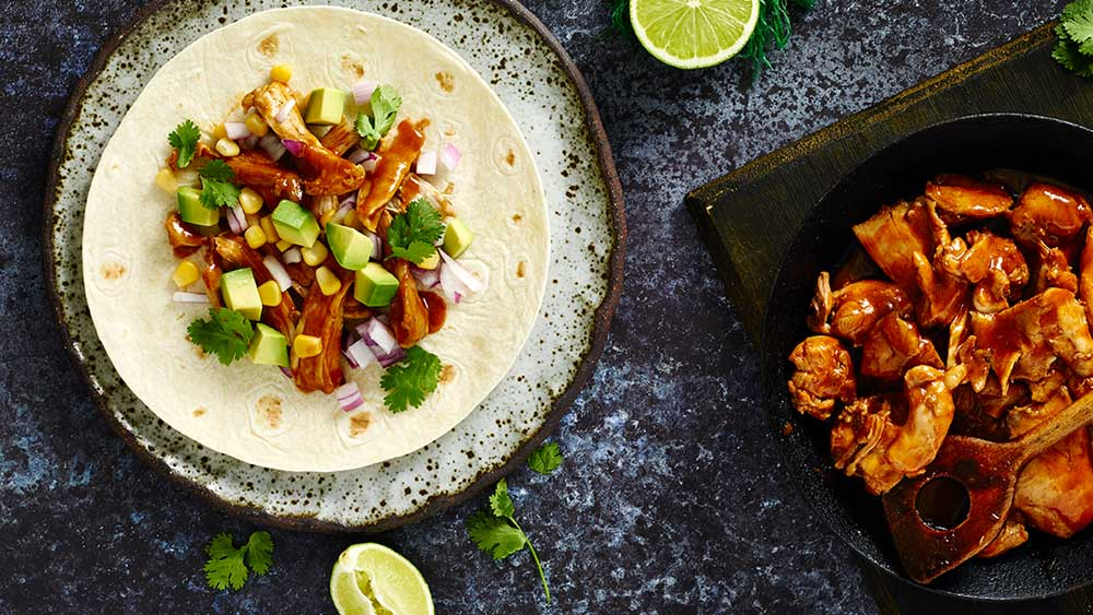 Smoky pulled chicken tortilla wraps recipe by Continental