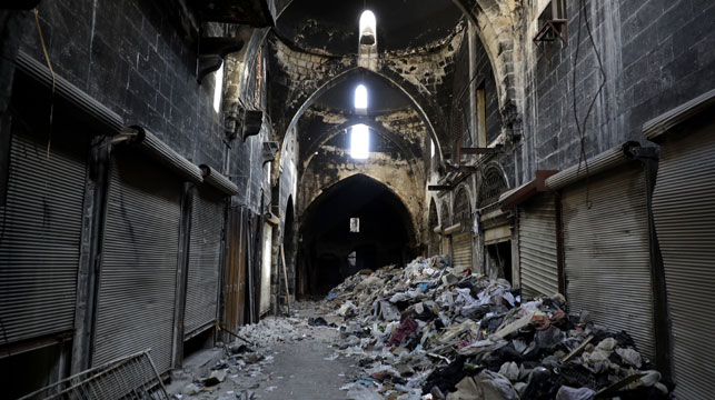 A photo taken last week showing the destruction inside the once-vibrant laneways of the bazaar. (Photo: AFP)
