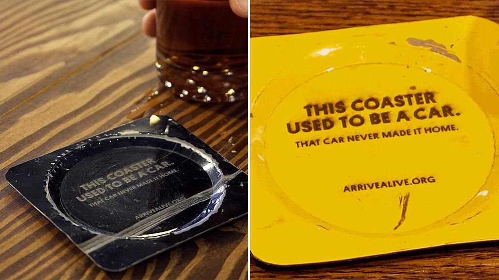 Canadian bar serves drinks on coasters made from crashed cars
