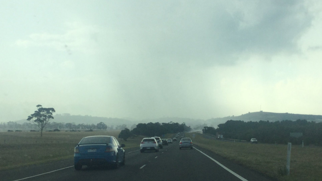 A sheet of rain on the Calder Freeway in Victoria. (Marie-Therese via Twitter)