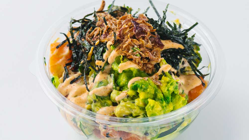 Poku's kingfish, hijiki and avocado poké bowl