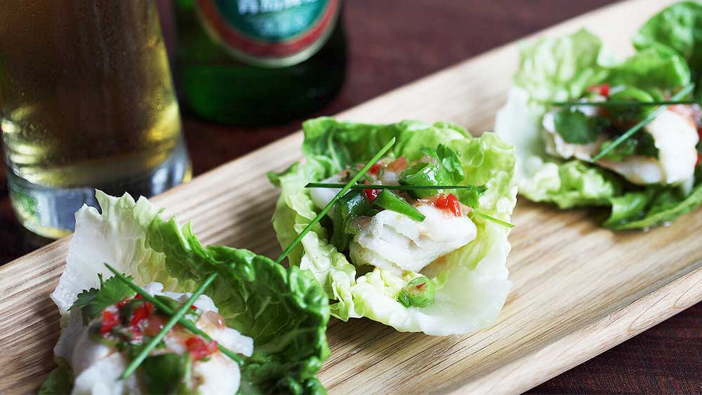 Tsingtao beer poached fish cups