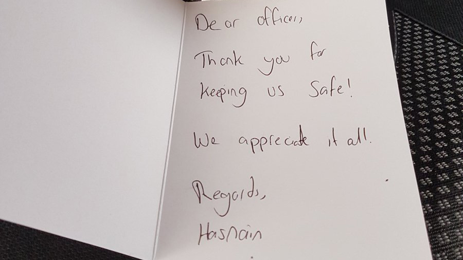 London police officer handed touching note day after terror attack