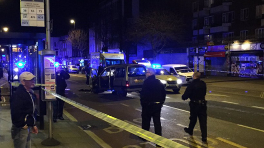 Four people have been injured after a car mounted a busy walkway in north London. (Twitter via Bee Q)